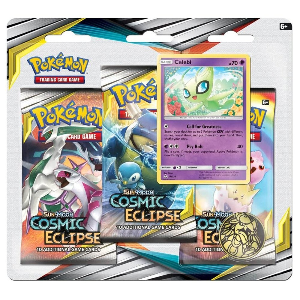 Pokemon TCG: S&M12 Cosmic Eclipse 3pk Blister - Celebi